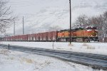 BNSF 4635 Point on The East Bound Beer Train Departing Golden On A Snowy Morning