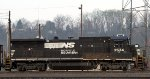 NS 3534 switches a cut of cars in Asheville Yard