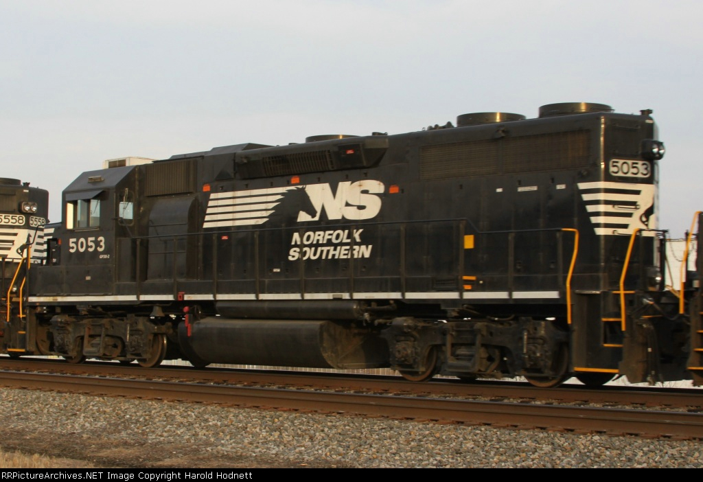 NS 5053, one of 2 5000 series rebuilt low nose GP38-2's heads south