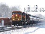 BNSF 8830 with EB ethanol train at CP 382