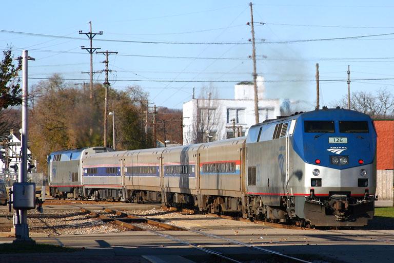 Amtrak 126 leaving the Kalamazoo Depot