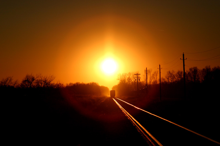 CN 5605 in the sunset