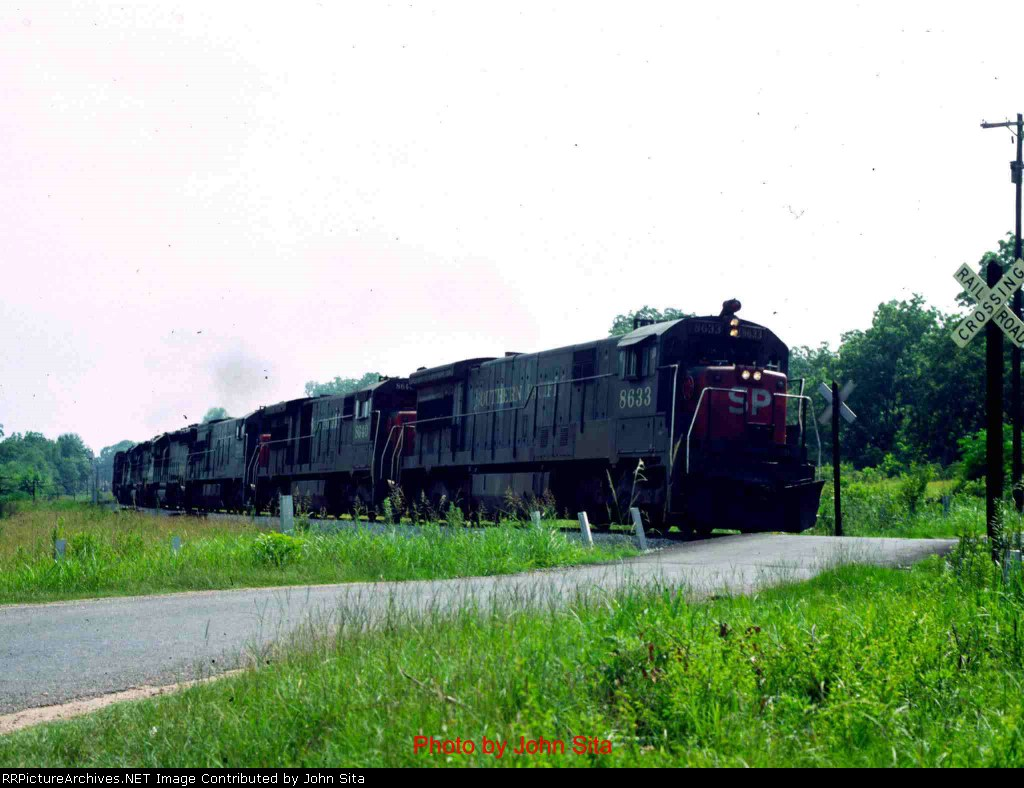 SP run-through freight, northbound, July, 1978