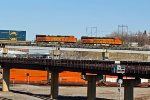 BNSF 7319 Runs Dpu on a stack train.