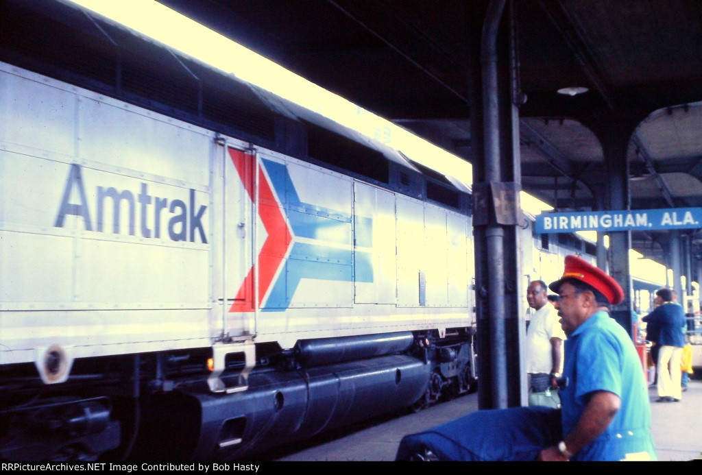 Northbound Floridian at Birmingham - Amtrak/L&N station. This is the third train for the day in Birmingham! That is station porter, Harrison Porterfield assisting passengers with baggage.