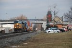 CSX 5300 takes a stack train past the depot.
