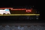 A Side Shot of UP 8792 as she passes me by at 02:46 am/MST pulling West as the Lead Unit on a Z Train probabley out of one off the Global Intermodal Yards around Chicago?