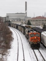 Just out of Wyoming Yard, BNSF 6016 & 9566 pull east with N956-01