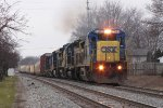 Led by the 7585, 6 units bring Q326-19 east down Track 1