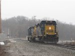 D707-29 rolls east off of Track 1 at Seymour