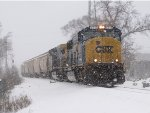 CSX 4515 & 109 roll over the switch at Seymour with G158 as the snow continues to fall
