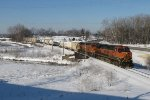 BNSF 1011 & 4478 roll east over Rush Creek with Q326-09