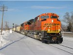 E945-07 starts west behind a pair of new BNSF SD70ACe's