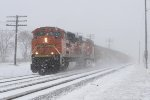 E945 starts to pick up speed as the snowfall gets heavier