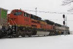 BNSF 9192 & 9614 roll east by the WAS Seymour as D801