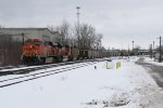 BNSF 5896 & 9163 dig in as they start east again with N956