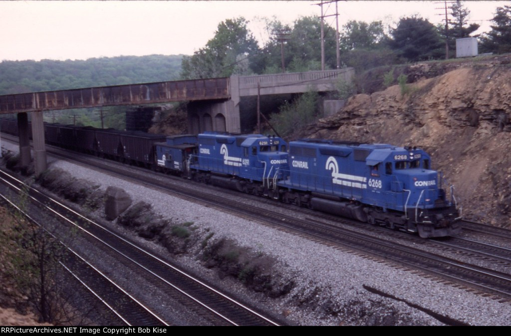 CR 6268 west with 6291 & caboose helping mineral train downhill