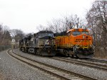BNSF 6077 and NS 9425
