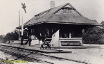 c. 1900.  Unidentified Station Agent at CNJ's Train Station