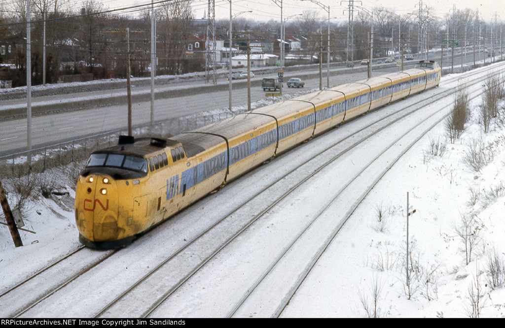 VIA turbo equipment on train number  60 from Toronto at Lachine