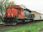 CN 6014 passes through Ingersoll on Cloudy day