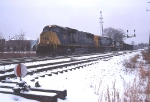 CSX 704 on NS train 11R in the snow at Charlottesville