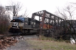 NS Coal Drag H74 on Former Lehigh & Hudson Ry. Bridge