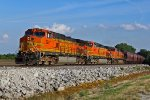 BNSF 5227 Heads Up the k line with a grain in tow!!