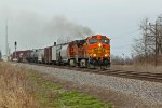 BNSF 5394 Leads a freight into the siding.