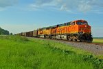 BNSF 5791 Slows for a train meet!!