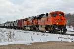 BNSF 9132 Heads Back north with a oil can.