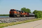 BNSF 973 Heads Eb with a oil can train!!