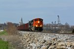 BNSF 9218 Leads a Sb empty coal train.