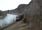 That lone double-stack sure sticks out like a sore thumb as the train sweeps around Pownal Curve