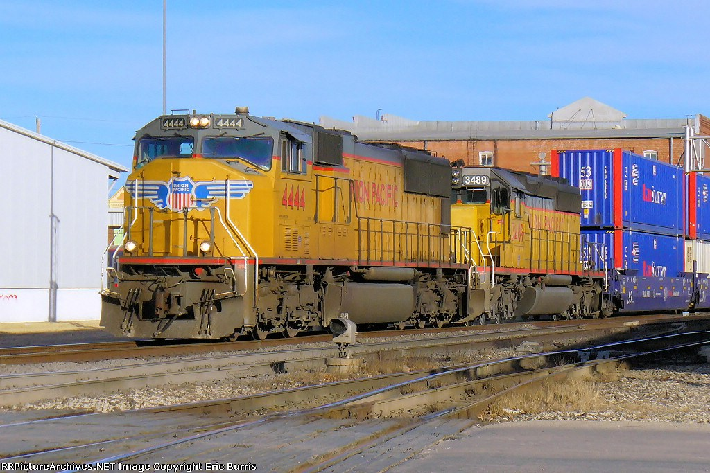 UP 4444 westbound on BNSF tracks