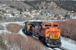 Loaded coal train rounds the curve