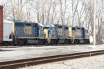 CSX 6123, 2718 & 2792 - Local & Yard Power tied up in Kingston Yard on a Sunday.