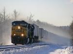 Q119 kicking up snow