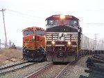 NS C40-9W 9055 & BNSF ES44DC 7488