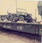 Jeep & Trailer on DODX 38414 during rail loadout exercise (Fort Hood)