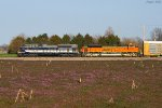Northbound BNSF Vehicle Train With NS 1070 - WAB Heritage Locomotive