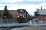 77E heads through Union SC by the depot in town