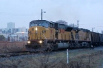 54K loaded monetta sc grain train comes out of andrews yard and heads south on the r line early fri morning