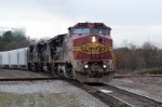 Ex ATSF warbonnet leads ns 192 into town it will leave sunday on 191
