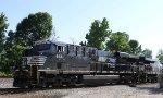 NS 8131 leads train 218 down the yard lead