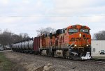 Eastbound BNSF Tank Train with a Touch of Snow