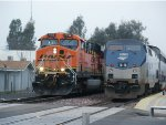 Freight Meets Passenger at Merced