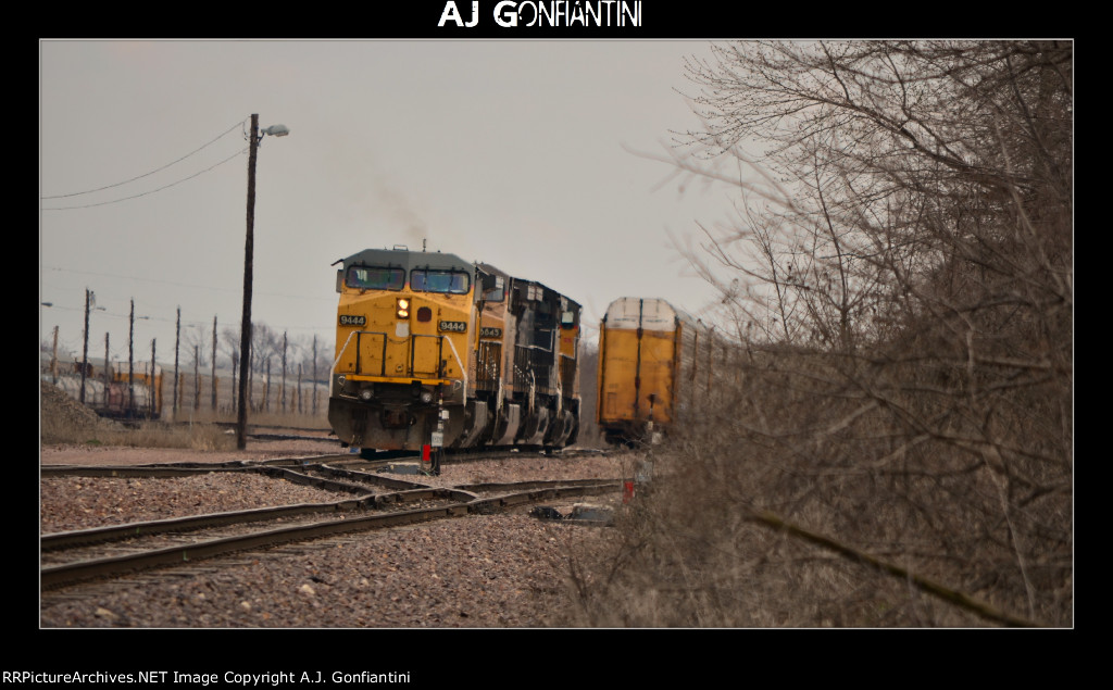 UP 9444, 6845, SP patch, and another UP C44AC