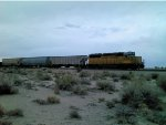 UP 1919 Long hood forward pushing the train out of Fallon Nevada