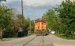 BNSF 5375 with grain train street running
